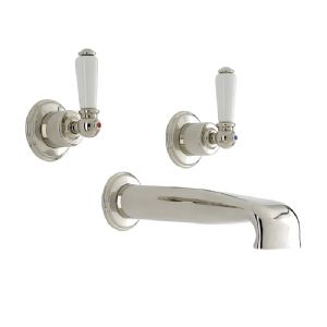 3580 Perrin & Rowe Three Hole Wall Mounted Bath Tap Set With Low Profile Spout Lever
